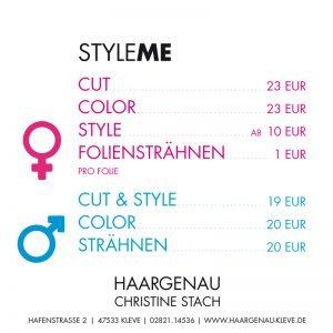 Haargenau Kleve Style Me Azubi Studenten-Tarif Preise 2017